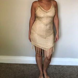 Crochet gold dress